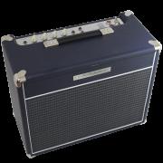 Amplificador valvulado AcedoAudio VL15 azul marinho tela preta e cinza fosco