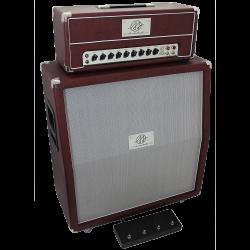 Amplificador valvulado AcedoAudio modelo 302 cabeçote 3 canais e gabinete 4x12 vinho tela prata