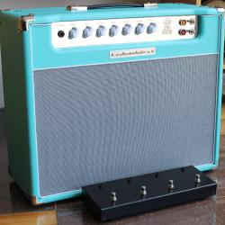 Amplificador Valvulado AcedoAudio 290 1x12 azul piscina tela prata Loop